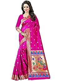 J B Fashion Women's Banarasi Silk Pink Saree With Blouse Piece(PAITHANI-3-PINK)