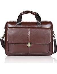 Porte-documents pour Hommes Unives Véritable Cuir Sac à Bandoulière Messenger Bag Business Sac pour Ordinateur Portable q12NFWII