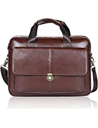 Porte-documents pour Hommes Unives Véritable Cuir Sac à Bandoulière Messenger Bag Business Sac pour Ordinateur Portable