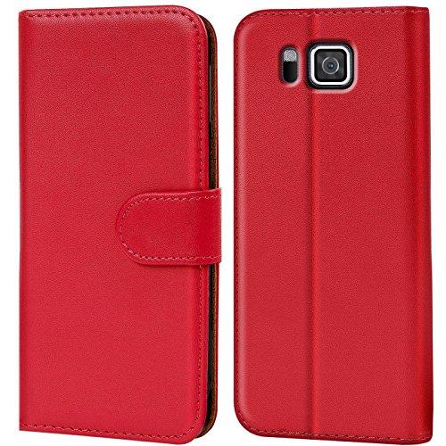 Verco Galaxy Alpha Hülle, Handyhülle für Samsung Galaxy Alpha Tasche PU Leder Flip Case Brieftasche - Rot -