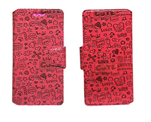 J Cover Teddy Series Leather Pouch Flip Case With Silicon Holder For Lava Mobiles Iris X1 Selfie Red  available at amazon for Rs.490