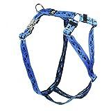 Premium Feltmann Hundegeschirr mit Alu-Max®-Metall-Steckschlössern, Soft-Nylonband blau, schwarze Pfötchen 60-80 cm, 25 mm