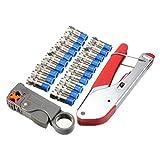 SeeKool Kompressionszange Crimp-Werkzeug Koaxialkabel Werkzeug +drehender Koaxialer Kabelschneider+ 20 Stück Kompressions-F-Stecker