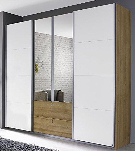 Dreh-/Schwebetürenschrank eiche riviera / weiß 4 Türen B 226 cm Drehtürenschrank Kleiderschrank Schiebetürenschrank Spiegeltürenschrank