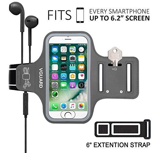 Vguard fascia da braccio sportiva universale 6.2'' resistente all'acqua sweatproof bracciale per corsa & esercizi con cinturino regolabile, portachiavi, porta scheda e riflettente armband per smartphone meno di 6.2 pollici come iphone x / 8 plus / 7 plus / 6s plus / 7 / 6 / 6s / 5s / 5c / 5 , samsung galaxy s8+ / s8 / s7 / s7 edge / s6 / s5, huawei p10 / p9 / honor 8, nexus 6p / 5x, asus, lg, motorola, ecc (grigio)