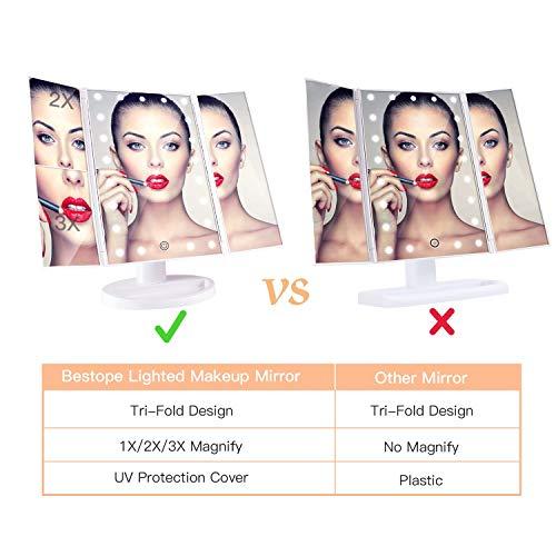 BESTOPE Kosmetikspiegel Beleuchtete Schminkspiegel mit 21 LED-Leuchtmittel Make Up Spiegel 2X/3X Vergrößerung für Arbeits/Tischplatte Bewegliche Kabellose Stromversorgung durch Akku oder USB-Aufladung - 6