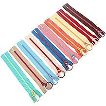 10 cremalleras de resina con anillo de metal para costura, para añadirle bolsillos a tu bolso, para manualidades de costura, color al azar, 30 cm