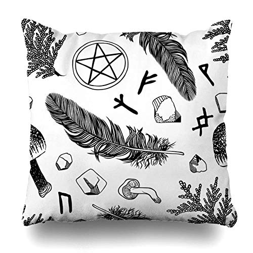 ZiJface Throw Pillows Covers Boho Witchcraft Pattern Ritual Things Wicca Attributes Young Witch Goth Abstract Home Decor Pillowcase Square Size 18 x 18 Inches Cushion ()