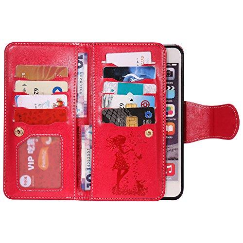 EKINHUI Case Cover Gepresste Blumen Geprägte Mädchen und Katzen-Muster PU-Leder-Kasten-Abdeckung mit Handschlaufe und 9-Karten-Slot-Foto-Rahmen für IPhone 6S plus ( Color : Brown ) Red