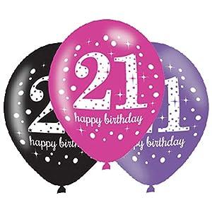amscan 9900875 - Globos de látex para cumpleaños número 21 (11 Pulgadas)