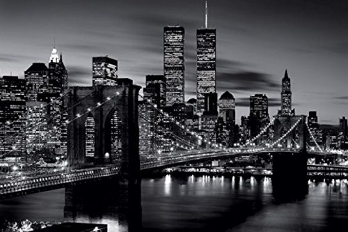 1art1 48884 New York - East River, Brooklyn Bridge S/W Poster 91 x 61 cm - Twin Towers, Brooklyn Bridge