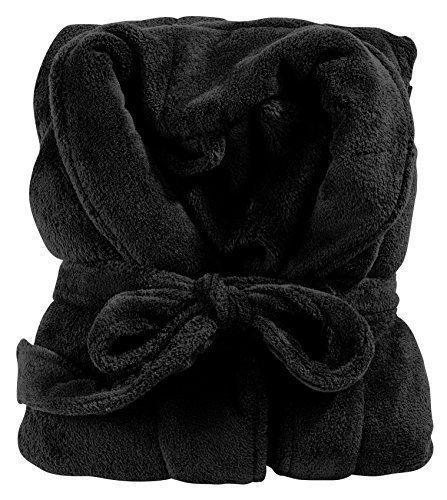 Klassischer Bademantel in Farbe schwarz Größe L wadenlang Unisex – für Damen und Herren