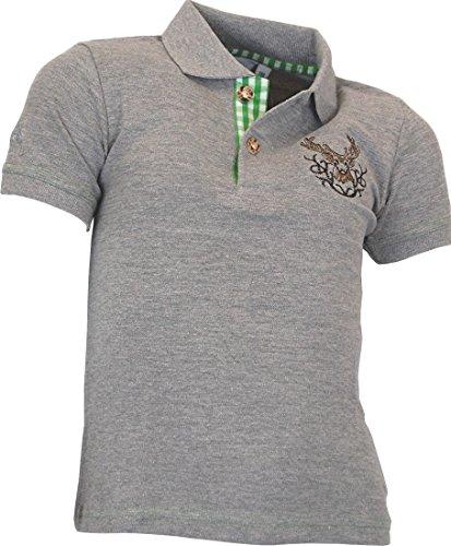 Isar-Trachten Kinder Polo Shirt Moosburg in 3 Farben, Größen:152, Farbe:Grau