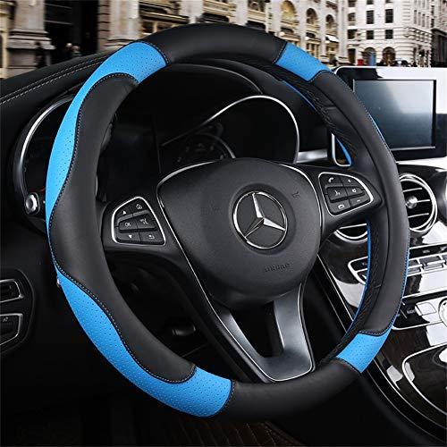 Couvre volant voiture cuir universel 37-39cm sport Couvre-volants Voiture Caches de Volant Camion SUV Confort Durabilité Sécurité (rouge Noir bleu jaune gris marron orange beige),Blue