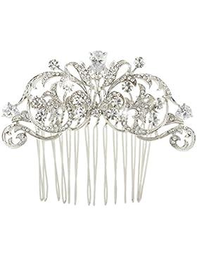 EVER FAITH® CZ Kristall Art Deco Blume Braut Haarkamm Haarschmuck Silber-Ton