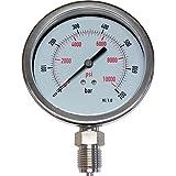"""Manómetro 700 bar/PSI - 100 mm.Ø - Todo Inoxidable - Relleno Glicerina - Conexión Vertical 1/2"""" gas/BSP - Clase 1.0 %"""