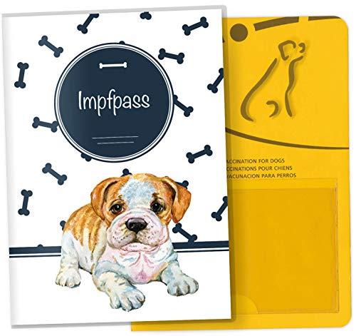 Impfpass Hülle Bone Tierausweis Schutzhülle schöne Geschenkidee (Englische Bulldogge, Impfpasshülle ohne Personalisierung)