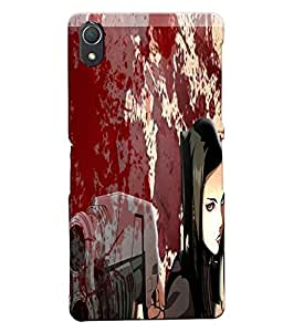 Fuson Blood Gun Girl Back Case Cover for SONY XPERIA Z2 - D3831
