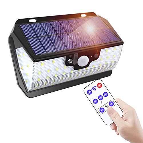 ERAY Solarlampen für Aussen,【Fernbedienung & 3000mAh & Zwei Aufladungsmodus】Solarlampe für Garten mit Bewegungsmelder IP65 Wasserdicht 55 LEDs 800 Lumen 3 Modi, Solarleuchten für Aussen