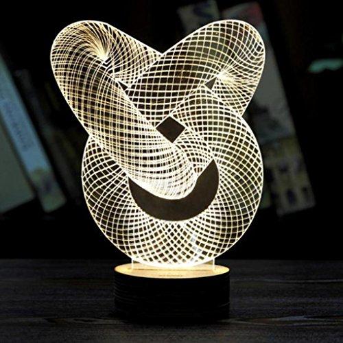 WINWINTOM Nachtlicht Optische 3D Kettenglied Beleuchtung Laser geschnitten Schreibtischlampe USB - Dvds Halloween-projektion