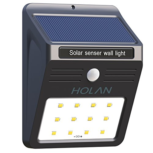 Holan Solar Motion Sensor Light,Holan 12 LED Rainproof Powered Security Light Outdoor with 2 Intelligent Modes for Garden,Outdoor,Fence,Patio,Deck,Yard,Home,Driveway