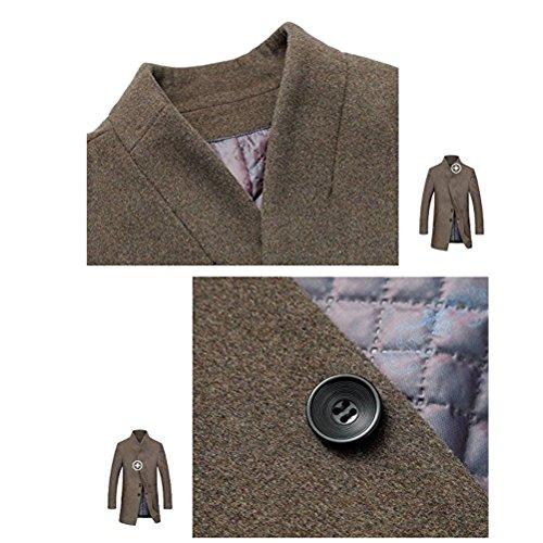 ROBO Uomo Signori Sottile Caloroso Cappotto Blazer Invernale Di Lana(XS-XL) #1 Nero