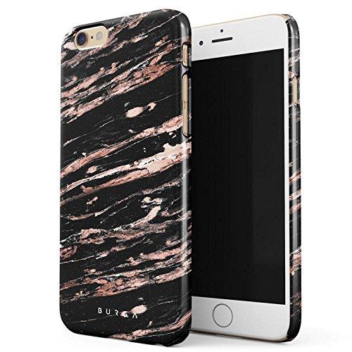 BURGA Schwarz Rose Gold Marmor Muster Black Marble Dünn, Robuste Rückschale aus Kunststoff Für iPhone 6 Plus / 6s Plus Hülle Handyhülle Schutz Case Cover (Teal Color-iphone 6 Case)