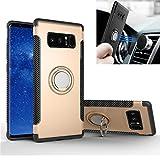 Custodia Galaxy Note 8 Anello, Staffa Rotante, REXANG [Con 360 ° Kickstand Rotativa ] Cover di Protezione [Supporto Magnetico per Auto] Resilient Assorbimento Antiurto per Samsung (Galaxy Note8, Oro)