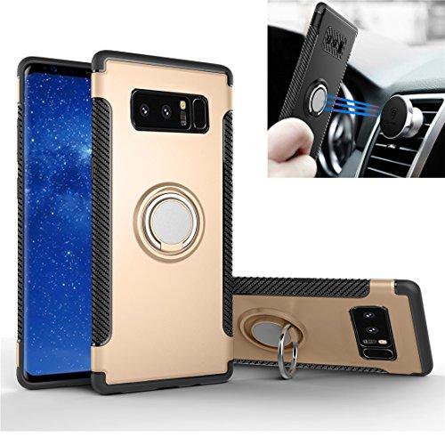 REXANG Galaxy Note 8 Hülle, [360°Kickstand] Ring Rüstung Handyhülle [Magnetic Car Mount] Dual Shockproof Luftpolster-Technologie Schutzhülle Case Cover für Samsung (Galaxy Note 8, Gold) - Dual-ring-mount