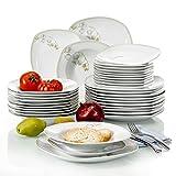 VEWEET Tafelservice 'Emily' aus Porzellan 36 teilig | Tellerset für 12 Personen | Mit je 12 Dessertteller, Tiefteller und Flachteller