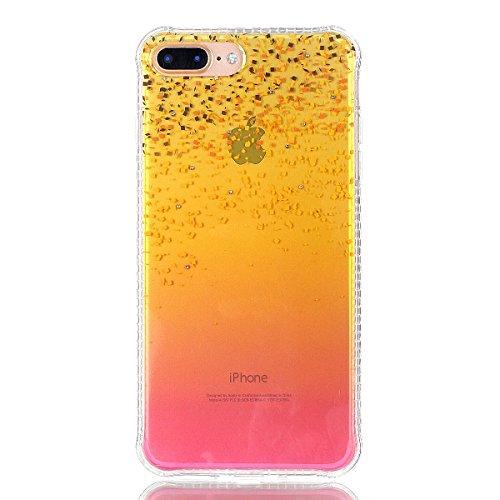 Custodia iPhone 7 Plus Glitter, iPhone 7 Plus Cover Silicone, SainCat Custodia in Morbida TPU Protettiva Cover per iPhone 7 Plus, Bling Glitter Strass Diamante 3D Design Transparent Silicone Case Ultr Sands