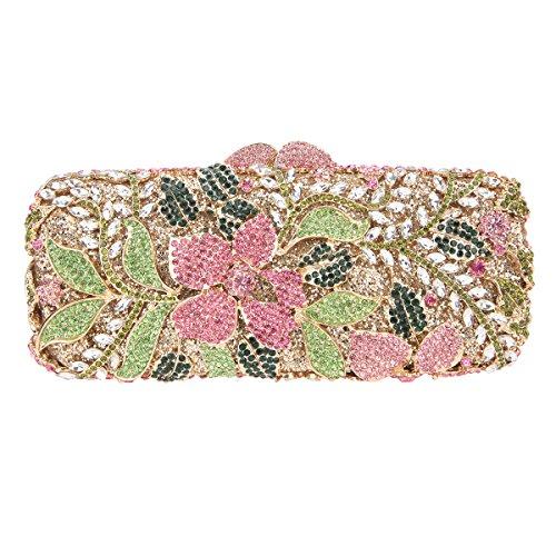 Bonjanvye Bling Rhinestone Flower Purses for Girls Crystal Clutch Bag Multicolor