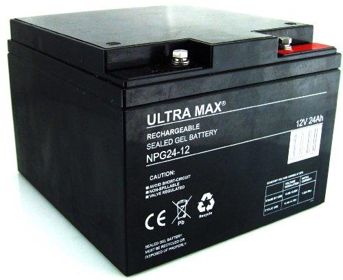 Ultramax NPG24–12, 12V 24Ah 20HR 27Loch Golf Trolley Gel Akku (wie 25Ah, 26Ah & 28Ah) (Jump Starter-pumpe)