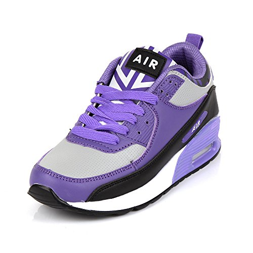 Ladies Running Trainers Air Shock Absorbing Fitness Gym Sports Shoes Size 2 - 7 (Purple, 5)