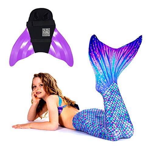 SUN TAILS Premium Meerjungfrauen Flossen Set zum Schwimmen Kostüm Aurora Borealis Monoflosse Keiki Kinder Nunui Erwachsene L violett