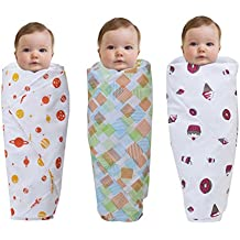 "Wonder Wee 2 Layered Baby Swaddle Blanket, 44"" x 44"", Pink Food with Square Lines and Orange Space, Pack of 3"