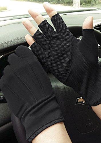 Guanti da uomo a mezze dita in maglia, guanti estivi da ciclismo in cotone, senza dita, antiscivolo, in silicone traspirante; per sport, fitness, allenamento, Black