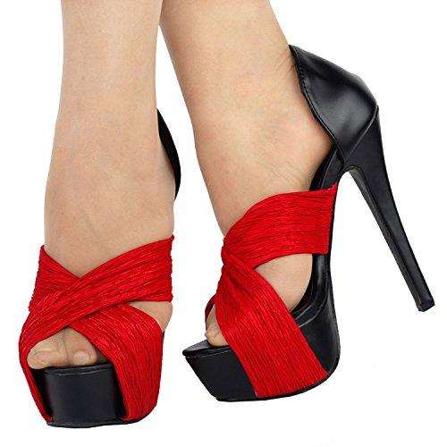 Visualizza storia nero rosso Strappy Open Toe d'Orsay piattaforma sandali tacco alto, LF80100 Rosso