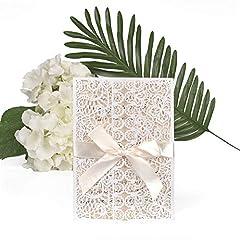 Idea Regalo - ewtshop®, set di biglietti di invito per matrimonio, biglietti di auguri, buste e nastri, 20 pezzi