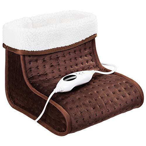 COSTWAY Elektrischer Fußwärmer Fußheizung Fuß Wärmekissen Fußsack Wärmesack ✔ 100W ✔ Farbewahl ✔ 6 Temperaturstufen ✔ Digitalanzeige ✔Abschaltautomatik (Braun)