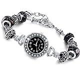 Beloved  Montre bracelet pour femme avec cristaux - bracelet avec beads plaque en...