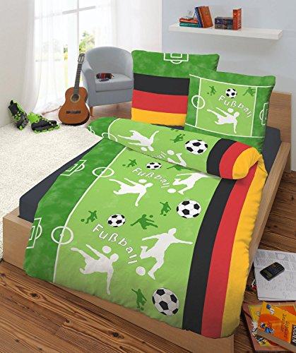Feinbiber Bettwäsche 135x200 cm 47590-609 Fußball grasgrün Markenware von IDO Homewear made in Germany