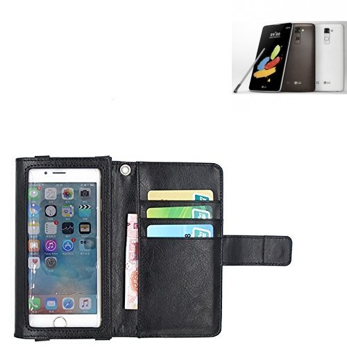 K-S-Trade Für LG Stylus 2 DAB+ Schutz Hülle Case mit Bildschirmschutz/Schutzfolie Flip Cover Wallet case Etui Hülle für LG Stylus 2 DAB+ schwarz