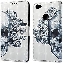 Para Xiaomi Redmi 5A funda, Ecoway pintura 3D caja del teléfono de la PU patrón en relieve ,Función de Soporte Billetera con Tapa para Tarjetas correa - Cráneo