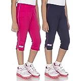 OCEAN RACE Girls Stylish attarctive Colors Cotton Capris(3/4 Th Pant)-Pack of 2