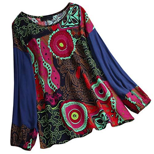 LOPILY Hippie Oberteile Damen Blumen Gedruckte Bluse mit Laternenärmel Farbblock Tunika Große Größen für Freizeit Urlaubsbekleidung O-Neck Lose Lässige Oversize Oberteile 56 54 52 50 (Hot pink, 56)