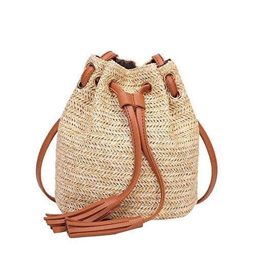 NMERWT Damenmode Bote Bucket Bag Retro einfarbig hohe Kapazität Weave Quasten Schulter Bucket Bag -