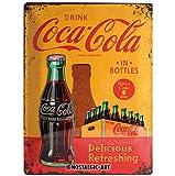 Nostalgic-Art Coca Cola In Bottles Yellow - Placa decorativa, metal, 30 x 40 cm, color amarillo y rojo