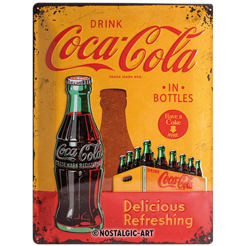 Nostalgic-Art 23195 Coca-Cola - In Bottles Yellow, Blechschild 30x40 cm