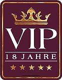 Original RAHMENLOS® Blechschild zum 18. Geburtstag: 18 Jahre VIP